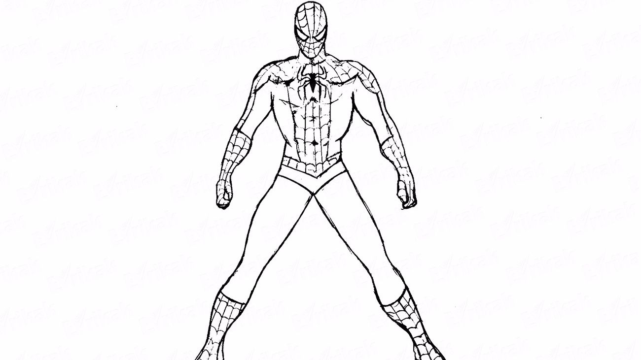 How to draw spiderman pencil