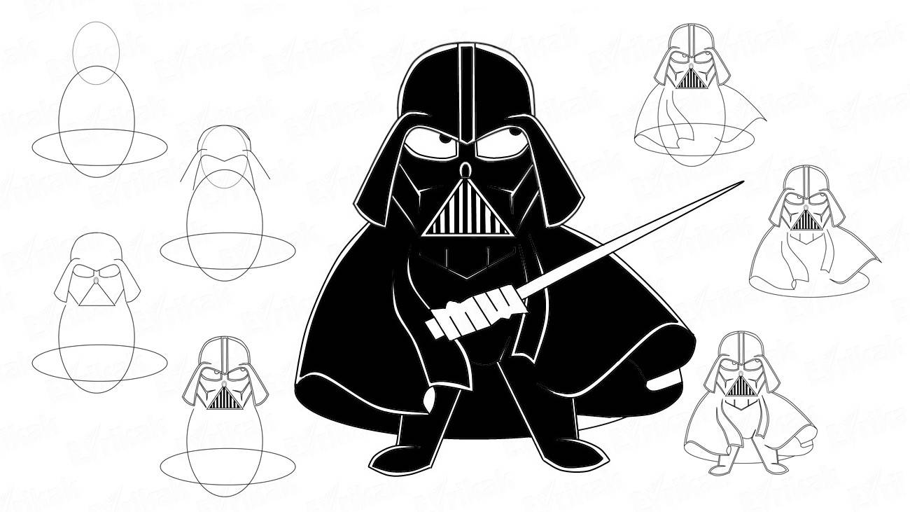 How to draw a Darth Vader step by step from Star Wars